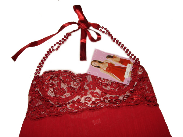 Red Lace Cup Chiffon Babydoll - Click Image to Close